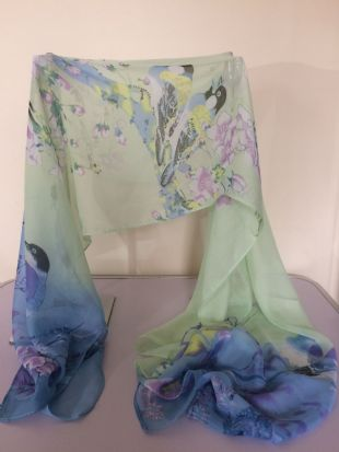 Blue & Green Ombre Scarf with Small Birds